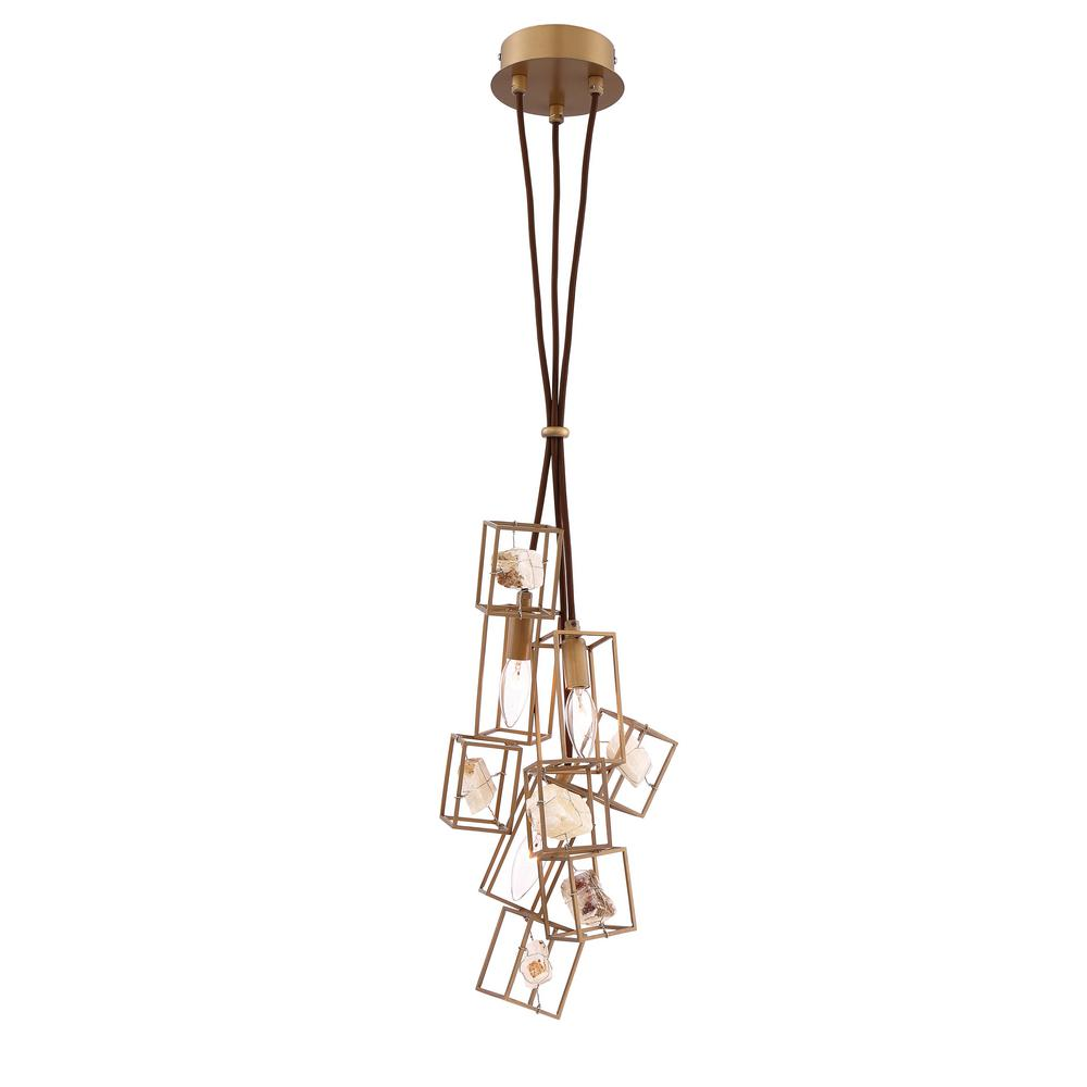 Cage eurofase chandeliers lighting the home depot patton collection 3 light bronze chandelier with natural stone shade arubaitofo Image collections