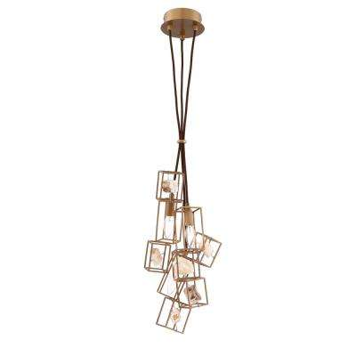 Patton Collection 3-Light Bronze Chandelier with Natural Stone Shade