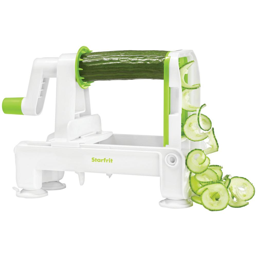 Foldable Spiralizer, White/Green Create spiral slices and veggie noodles with this Foldable Spiralizer from Starfrit. This dishwasher safe spiralizer has suction feet for stability and a food holder with pusher guide to protect fingers. It includes 3-interchangeable blades. Color: White/Green.