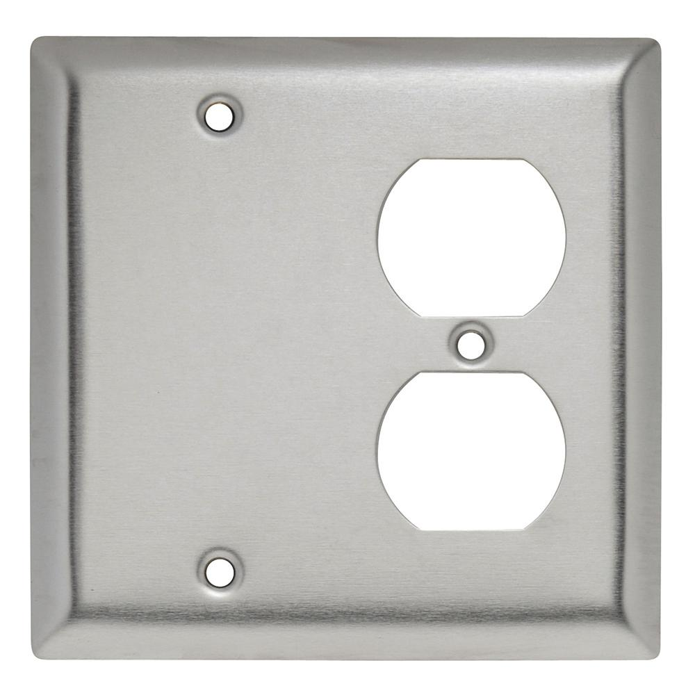 302 Series 2-Gang Blank/Duplex Combination Wall Plate in Stainless Steel