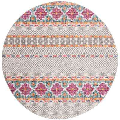 Madison Gray/Ivory 6 ft. 7 in. x 6 ft. 7 in. Round Area Rug