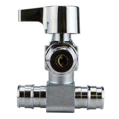 1/2 in. Chrome-Plated Brass PEX-A Barb x 1/4 in. Compression Quarter-Turn Icemaker Tee Valve
