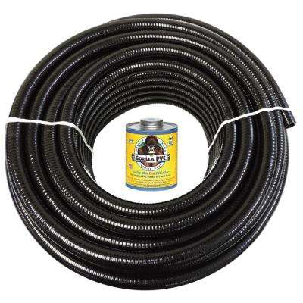 2 in. x 50 ft. Black PVC Schedule 40 Flexible Pipe with Gorilla Glue