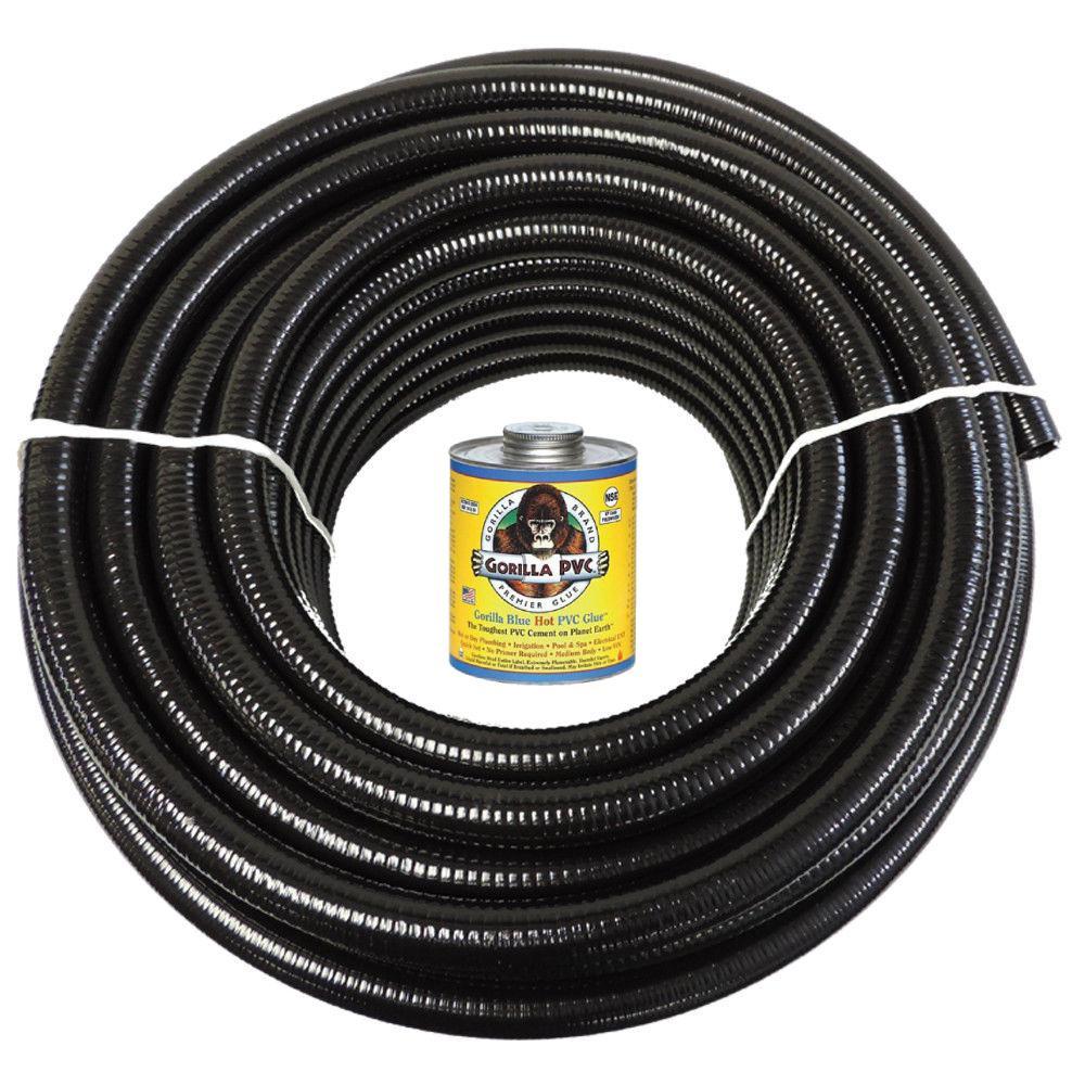 2 in. x 100 ft. Black PVC Schedule 40 Flexible Pipe with Gorilla Glue
