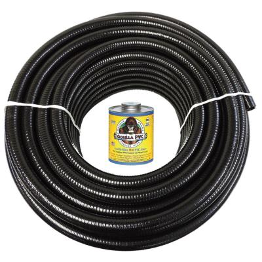 1 1/2 in. x 10 ft. Black PVC Schedule 40 Flexible Pipe with Gorilla Glue