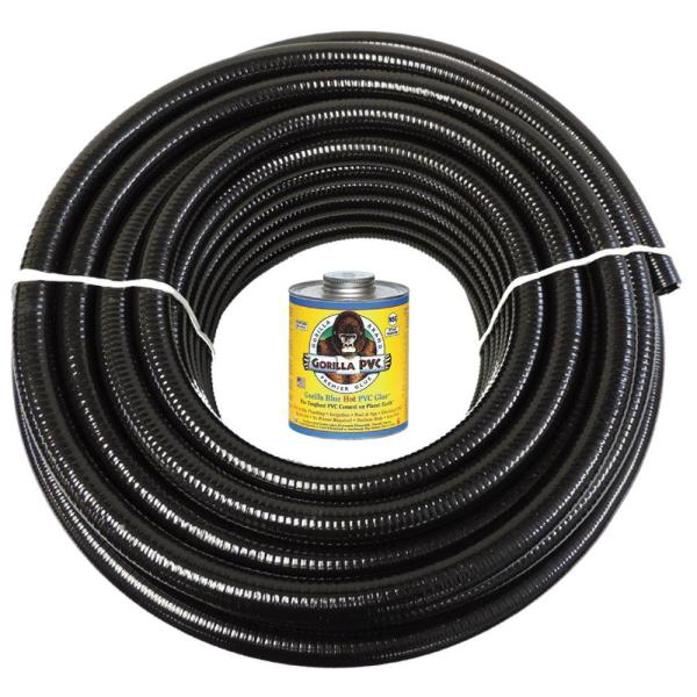 1 1/2 in. x 25 ft. Black PVC Schedule 40 Flexible Pipe with Gorilla Glue
