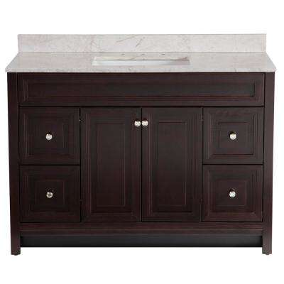Brinkhill 49 in. W x 22 in. D Bathroom Vanity in Chocolate with Stone Effect Vanity Top in Dune with White Sink