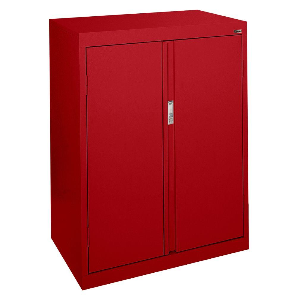 Sandusky System Series 30 in. W x 42 in. H x 18 in. D Counter Height Storage Cabinet with Fixed Shelves in Red