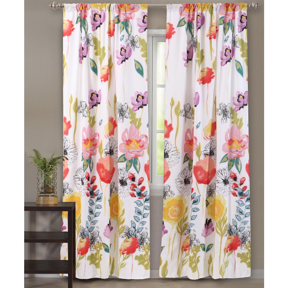Watercolor Dream Multi Sheer Polyester Window Panel Pair - 42 in. W x 63 in. L