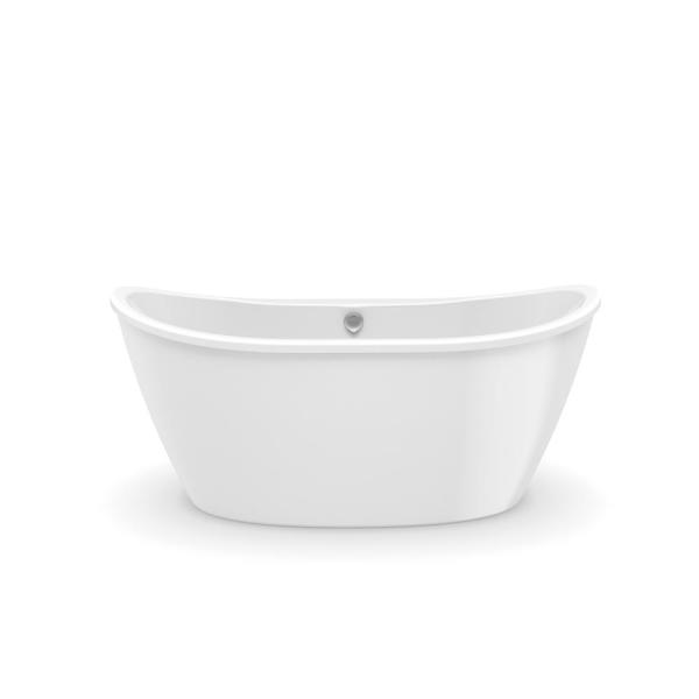 Delsia 60 in. Fiberglass Center Drain Non-Whirlpool Flatbottom Freestanding Bathtub in White
