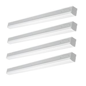 4 ft. 220-Watt Equivalent Integrated LED White Commercial Strip Light Fixture 4000K High Output 5500 Lumens (4 Pack)