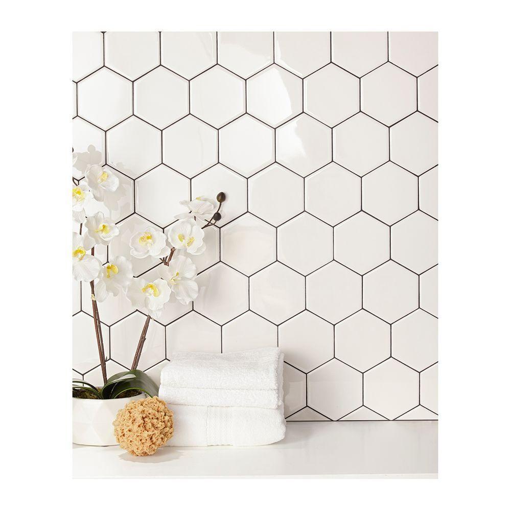 Daltile Semi Gloss White Hexagon 4 In X 4 In Glazed Ceramic Wall Tile 3 Sq Ft Case 010044hexhd1p2 The Home Depot