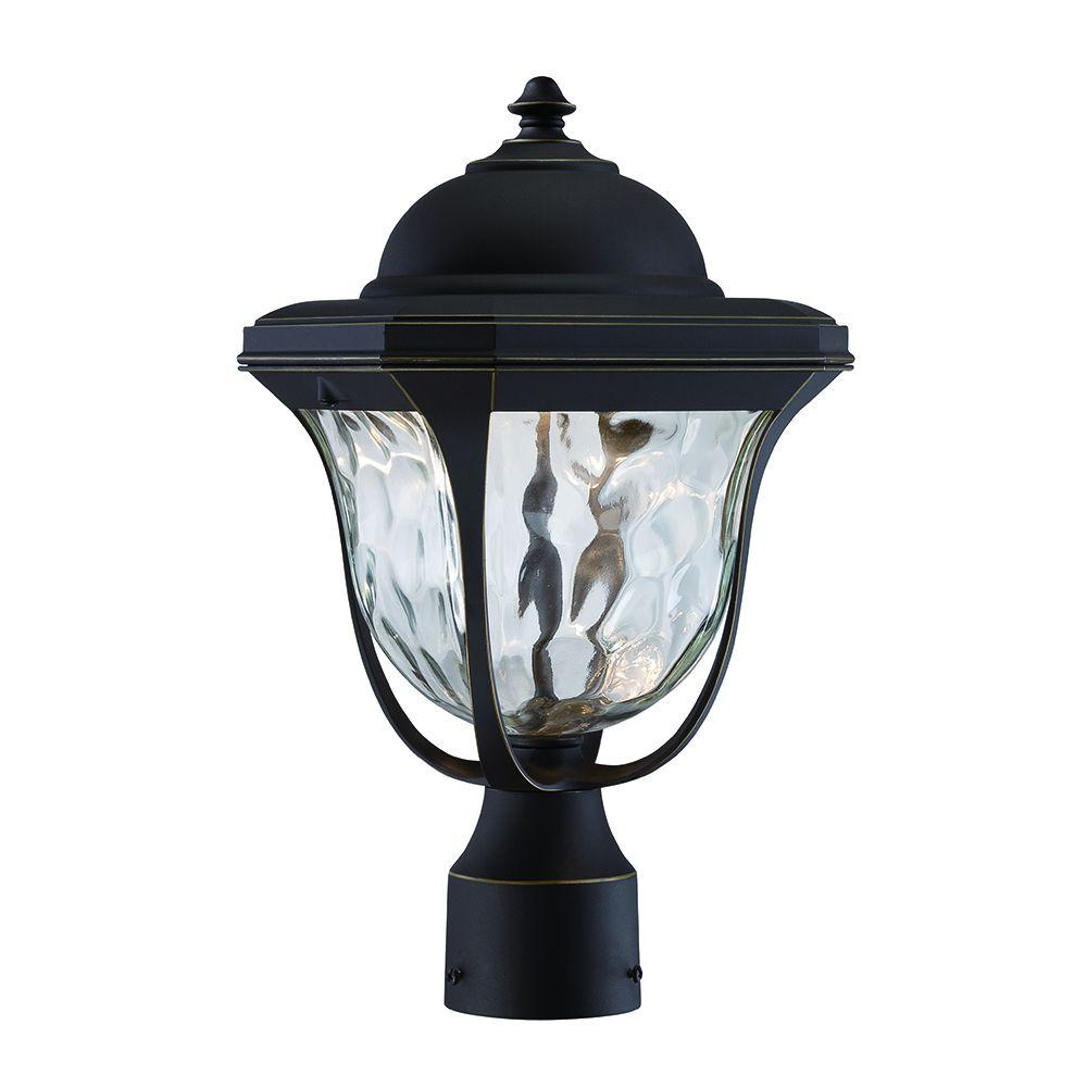 Marquette 1-Head Aged Bronze Patina Outdoor LED Post Lantern