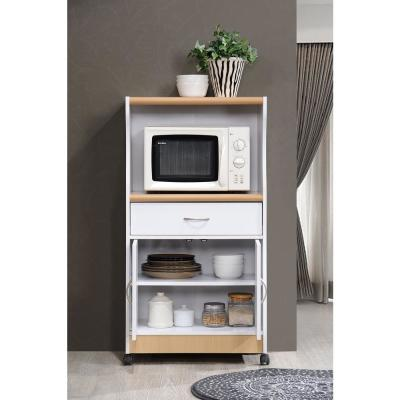 White Microwave Cart with Storage