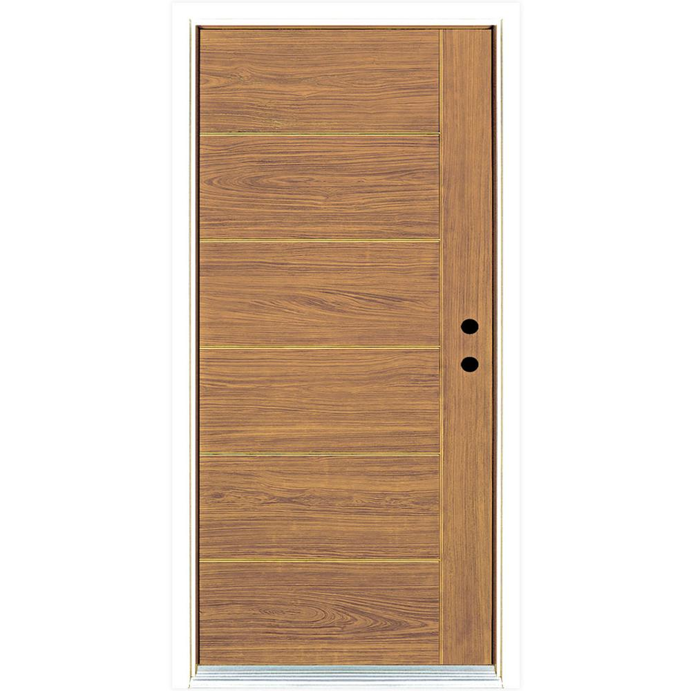 Mp doors 36 in x 80 in contemporary teak modern light for Modern front door lights