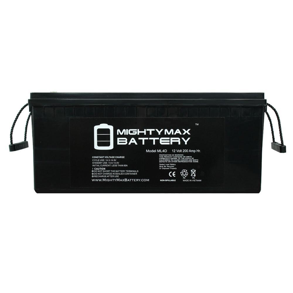 12-Volt 200 Ah Rechargeable AGM Sealed Lead Acid (SLA) Battery