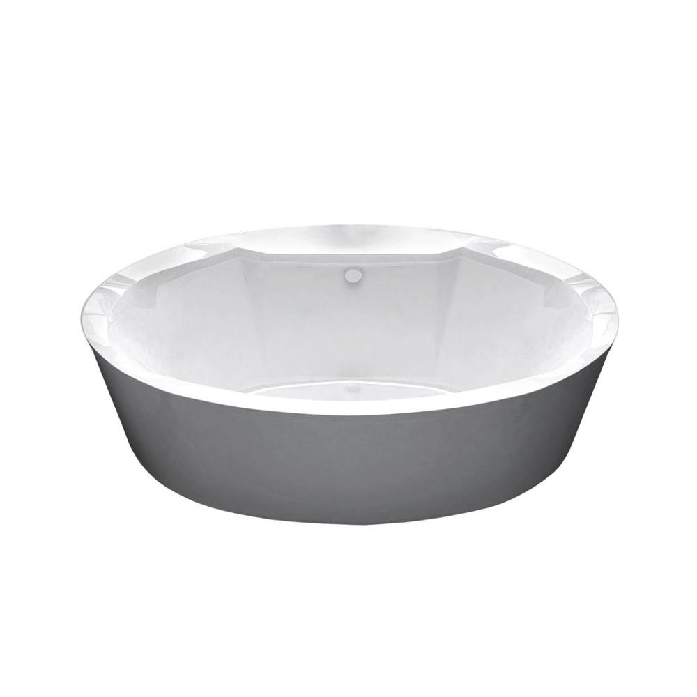 Universal tubs sunstone 5 7 ft acrylic center drain oval for Oval garden tub