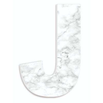 """12 in. x 18 in. """"Modern White and Grey Marble Patterned Initial J"""" by Artist Daphne Polselli Wood Wall Art"""