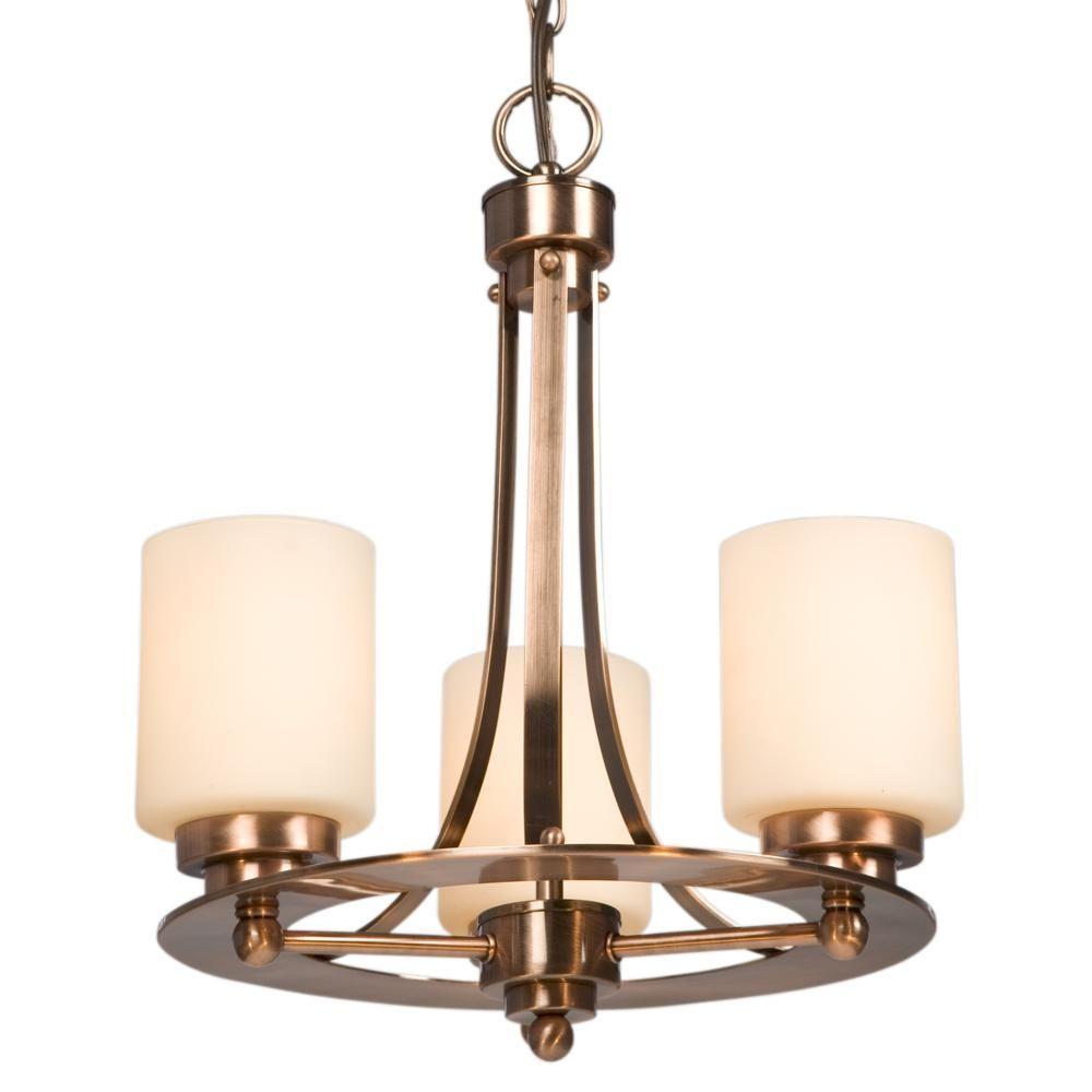 Filament Design N 3 Light Antique Copper Patina Incandescent Chandelier