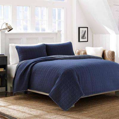 Maywood Indigo-Blue 3-Piece Full/Queen Quilt Set