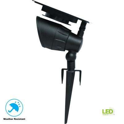 Solar Black Outdoor Integrated LED Warm White 100-Lumen Landscape Spotlight with Remote Solar Panel 3000K