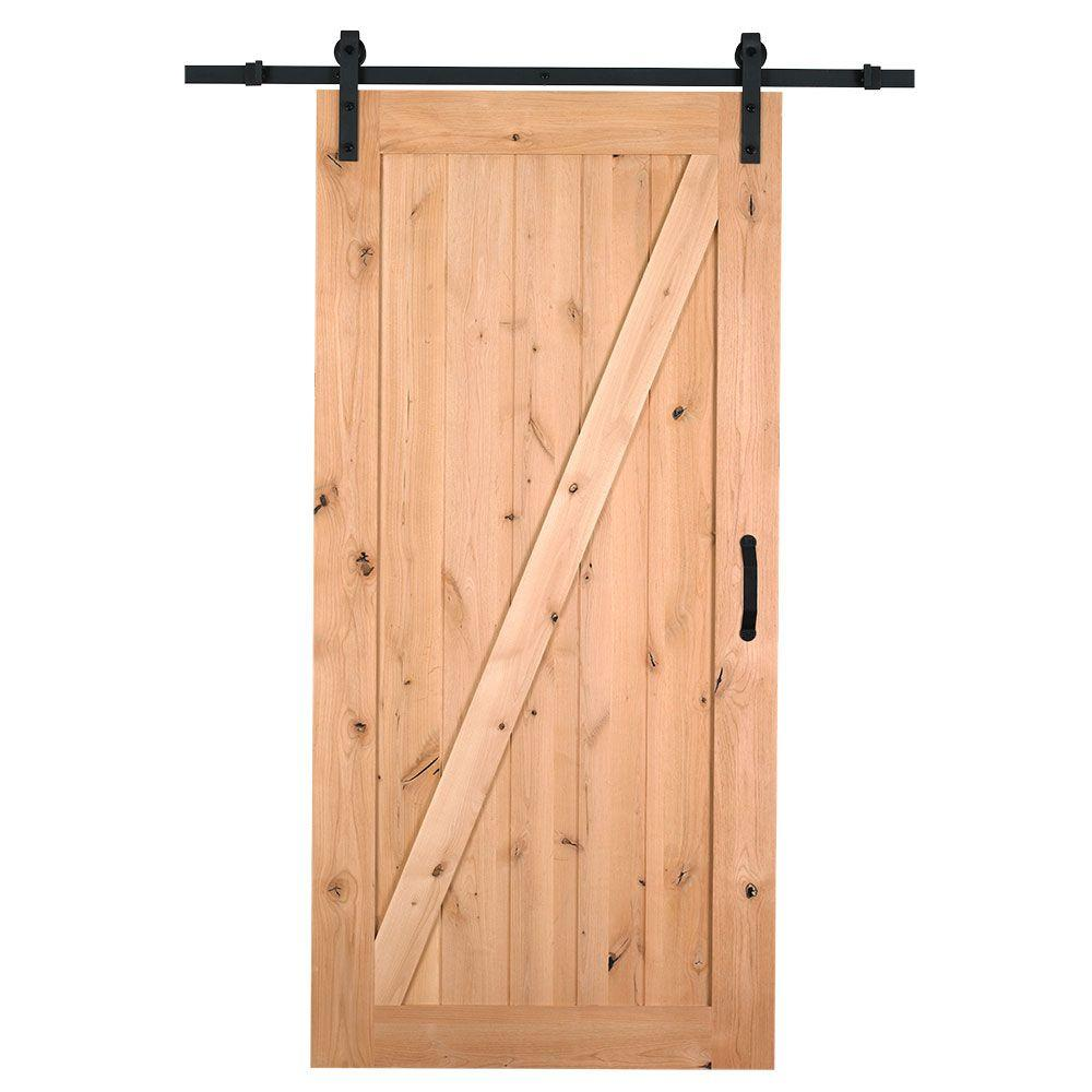 Z Bar Knotty Alder Wood Interior Barn Door Slab With Sliding Hardware Kit 47606 The Home Depot