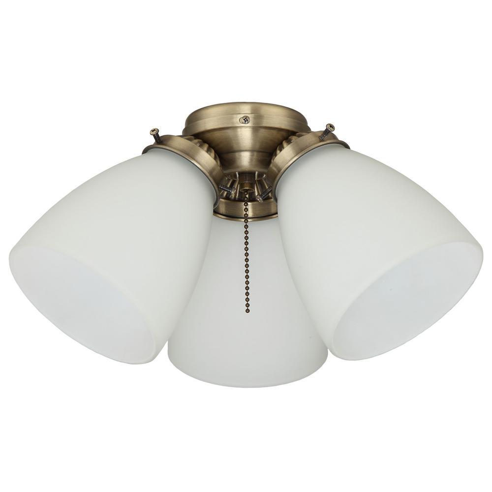3-Light Antique Brass Ceiling Fan Shades LED Light Kit