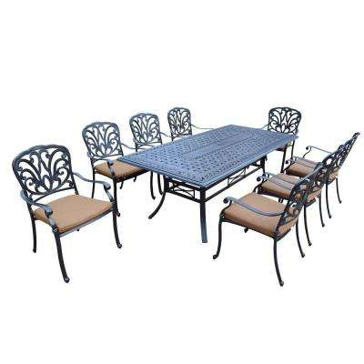 Cast Aluminum 9-Piece Rectangular Patio Dining Set with Sunbrella Cushions