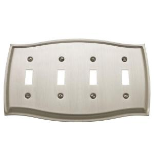 colonial 4 toggle wall plate satin nickel