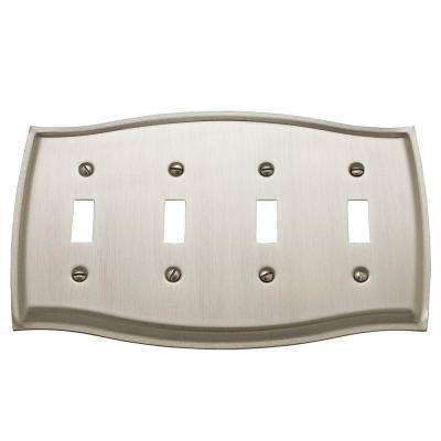 Colonial 4 Toggle Wall Plate - Satin Nickel