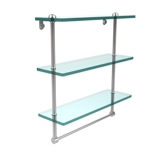 Allied Brass 16 In L X 18 In H X 5 In W 3 Tier Clear Glass Bathroom Shelf With Towel Bar In Polished Chrome Rc 5 16tb Pc The Home Depot