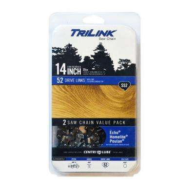 Twin Pack 14 in. S52 Semi Chisel Chainsaw Chain