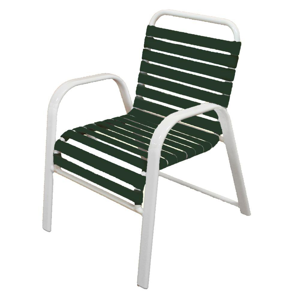 Marco Island White Commercial Grade Aluminum Patio Dining Chair with Green