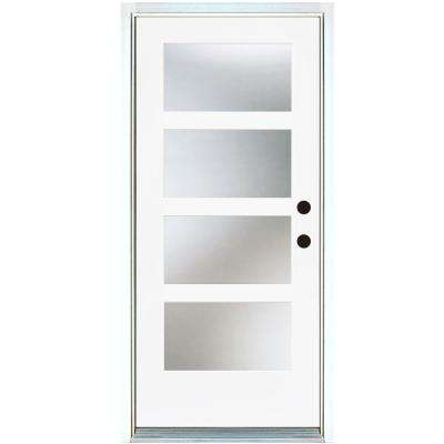 36 in. x 80 in. Smooth White Left-Hand Inswing Full-Lite 4-Lite SDL Frosted Finished Fiberglass Prehung Front Door