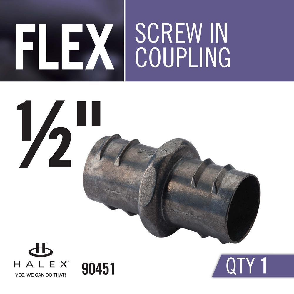 1 per pack Halex FMC 1//2 in Flexible Metal Conduit Screw-In Coupling 90451