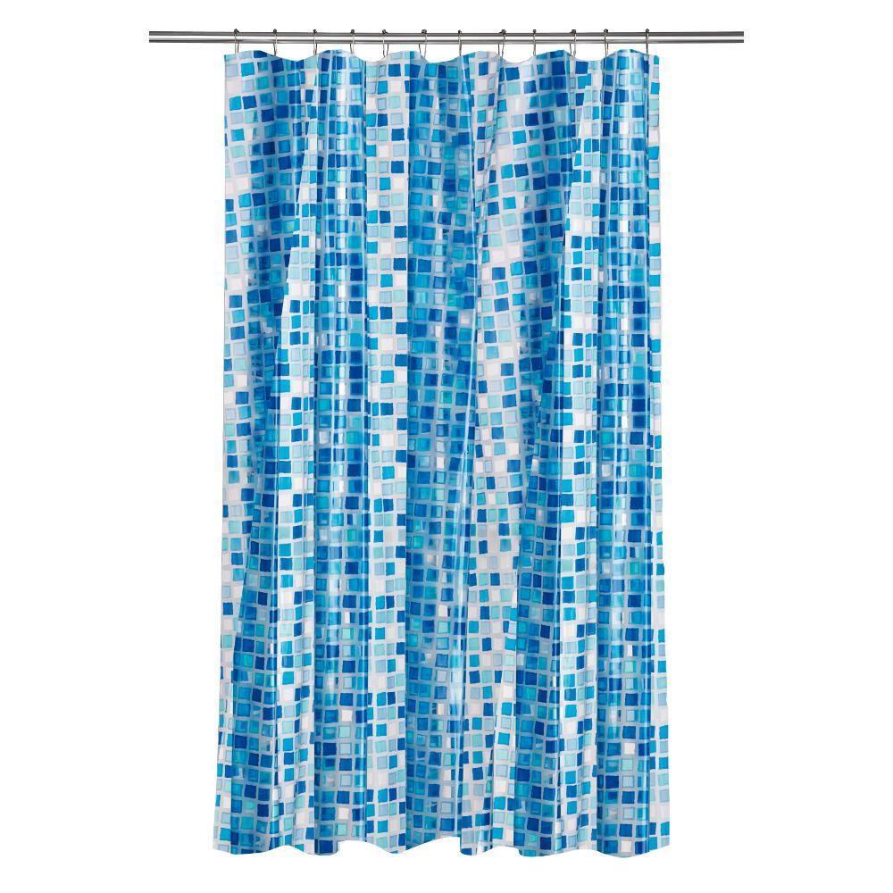 Croydex Shower Curtain in Mosaic Blue by Croydex