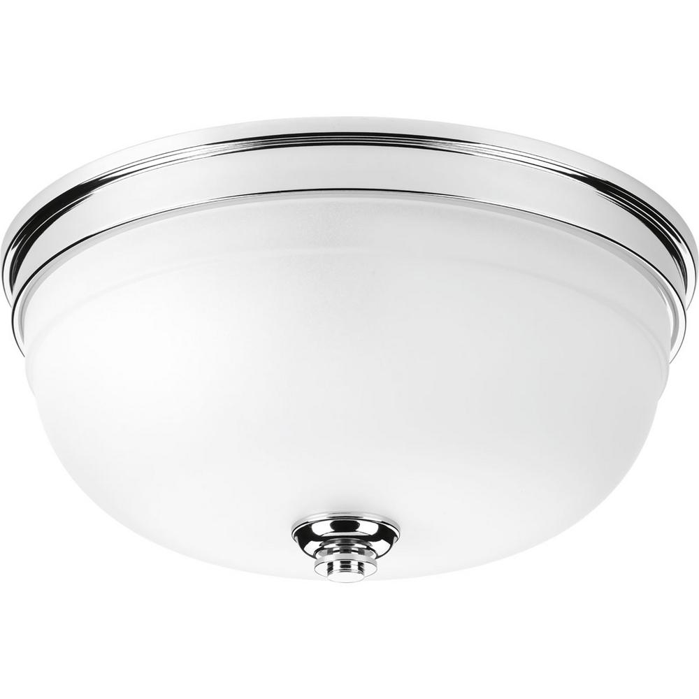 Progress Lighting Topsail Collection 3-Light Polished Chrome Flush Mount with Parchment-Finish Glass