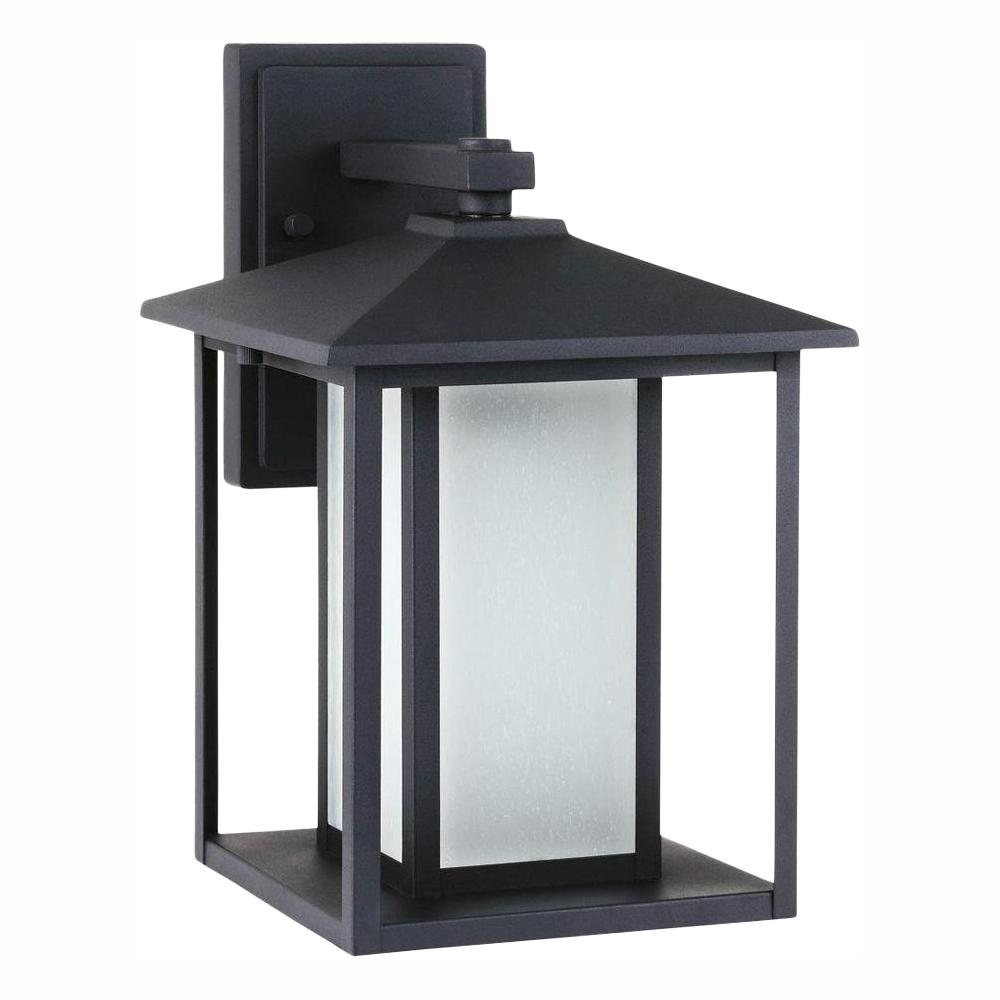 Sea Gull Lighting Hunnington 9 in. W 1-Light Medium Outdoor 14 in. Black Wall Mount Lantern with LED Bulb and Etched Seeded Glass