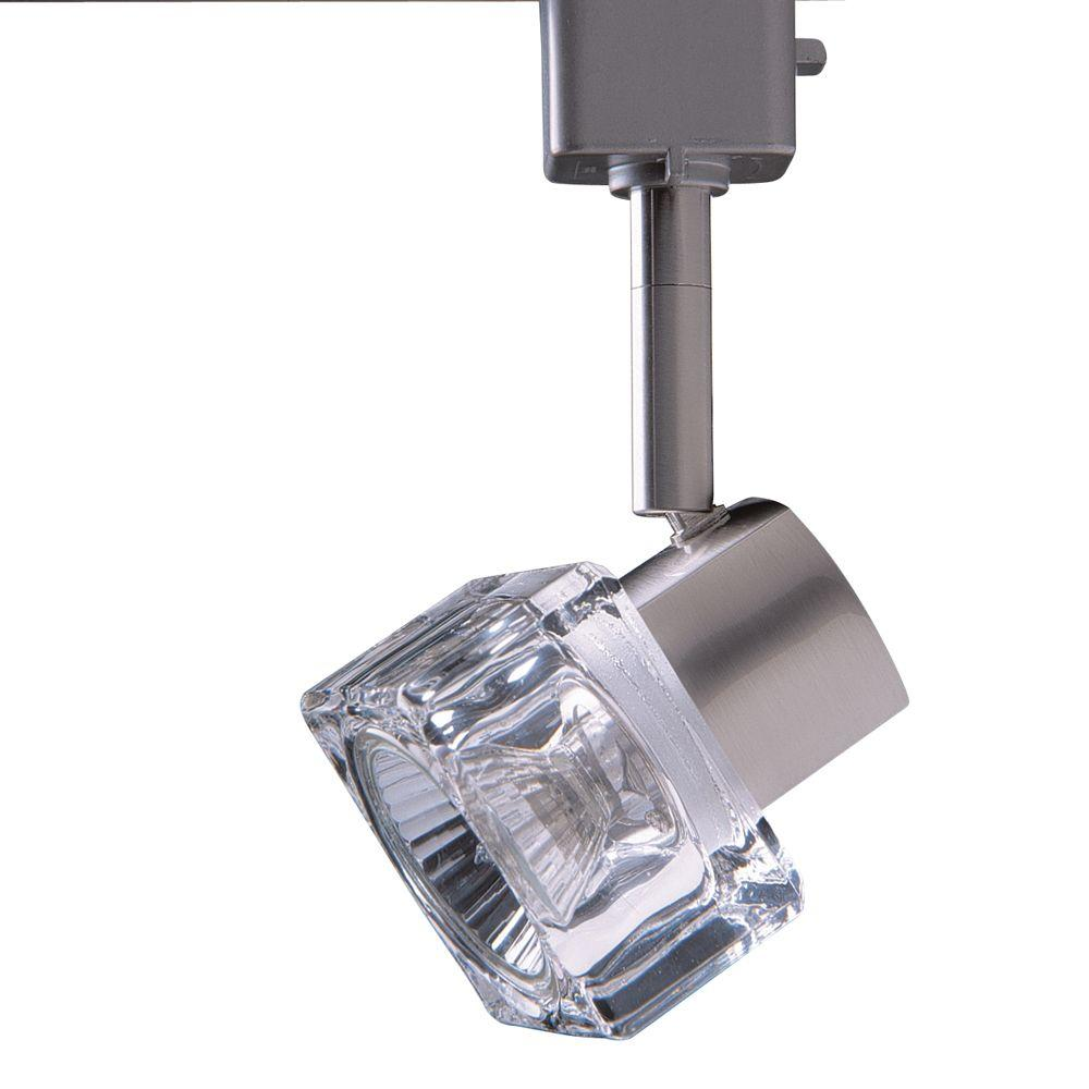 Designers Choice Collection Series 12 Line-Voltage GU-10 Satin Nickel Track Lighting Fixture with Glass Cube