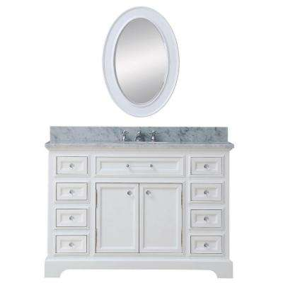 48 in. W x 22 in. D Vanity in White with Marble Vanity Top in Carrara White and Mirror