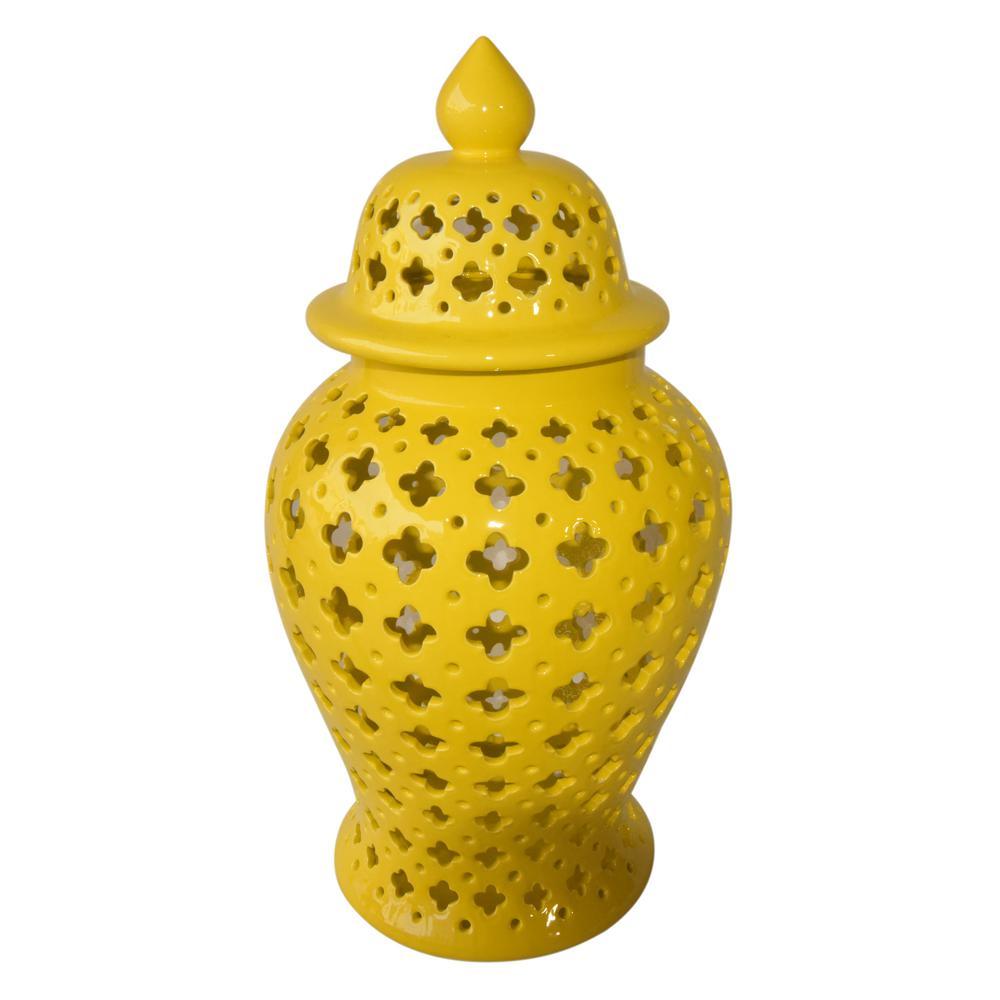 24 in. Yellow Ceramic Jar