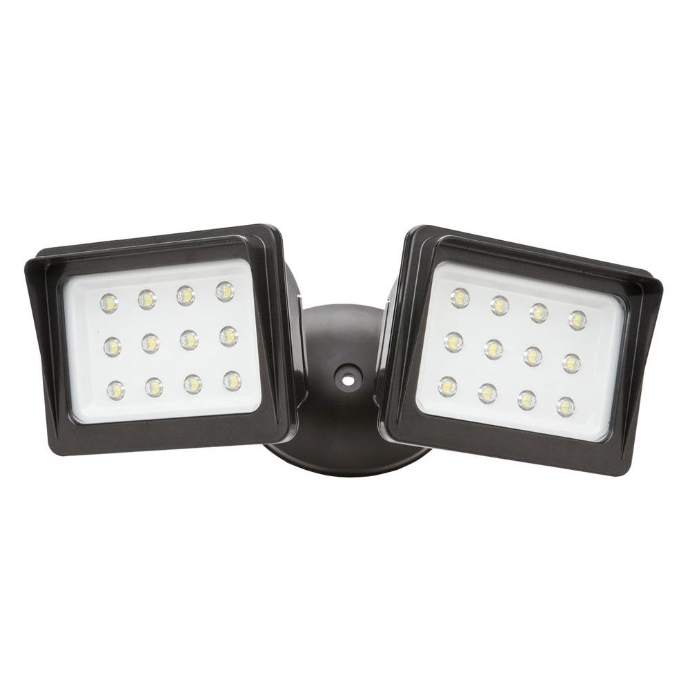 Designers Edge Wall Mount Outdoor LED Twin Head Flood Light - Die-Cast Aluminum-DISCONTINUED