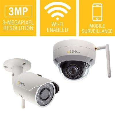 3MP Wi-Fi Indoor/Outdoor Bullet and Dome Security Camera Combo Pack with 16GB SD Cards