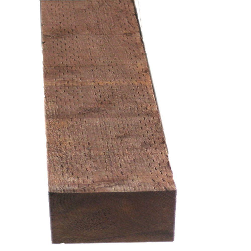 Pressure treated timber df brown stain common 3 in x 6 for Brown treated deck boards