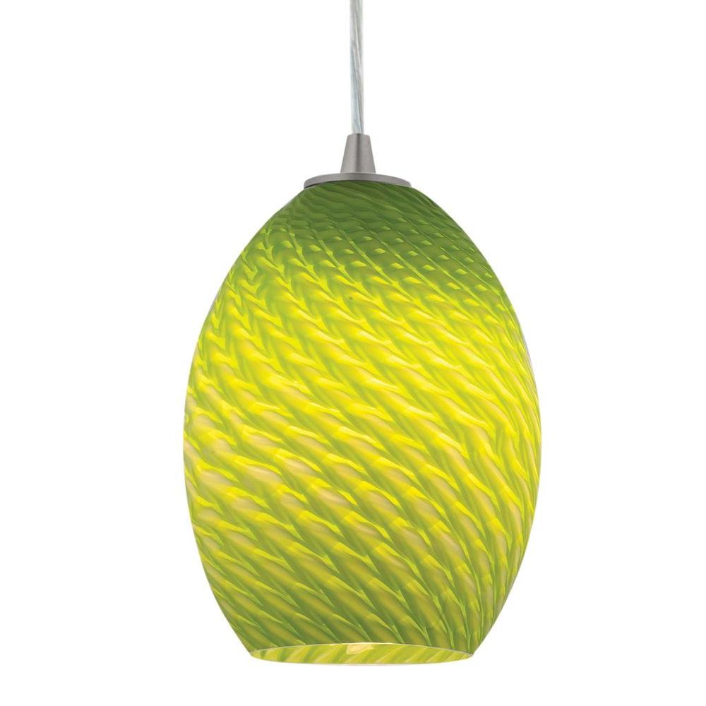 Access Lighting 1-Light Pendant Brushed Steel Finish-Light Green GlassFB-DISCONTINUED