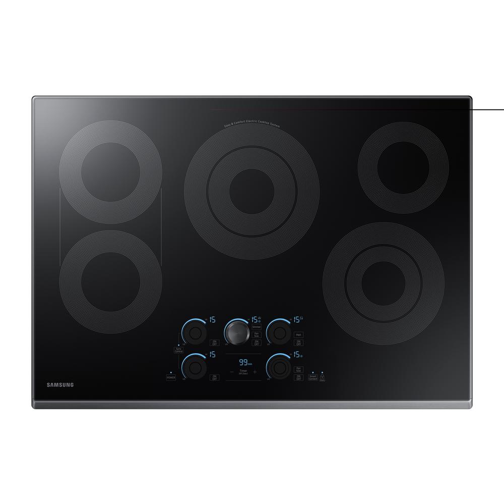 30 in. Ceramic Electric Cooktop in Black Stainless with 5 Elements