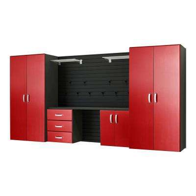 Modular Wall Mounted Garage Cabinet Storage Set with Workstation and Accessories in Black/Red Carbon Fiber (17-Piece)