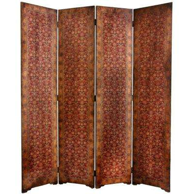 6 ft. Brown 4-Panel Rococo Room Divider