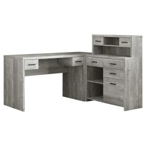 63 in. L-Shaped Gray 8 Drawer Computer Desk with File Storage