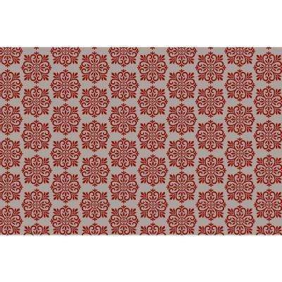 Modern European Design  2ft x 3ft red & white Indoor/Outdoor vinyl rug.